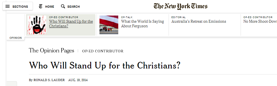 Who Will Stand Up for the Christians?