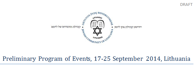 Program of events dedicated to commemorate the nationally designated day of genocide of the Jewish people of Lithuania