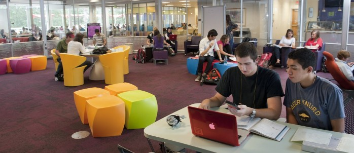 Students use the interior spaces at D.H. Library. Photo by Marc Hall