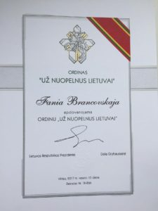 Brancovskajos medalio raštas