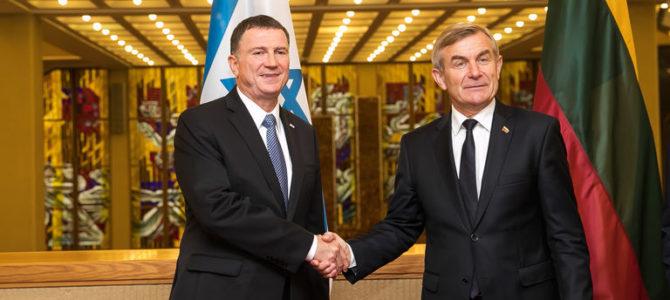Seimo pirmininkas V.Pranckietis su Izraelio Kneseto pirmininku aptarė tiesioginių skrydžių būtinybę