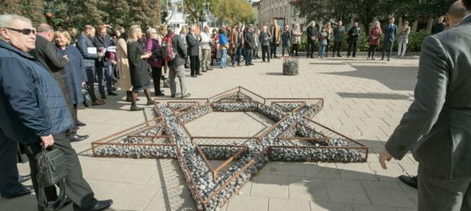 Buvusio Vilniaus geto vietoje iš akmenų sudėta Dovydo žvaigždė