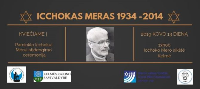 Monument to Icchokas Meras to be Unveiled in Kelmė