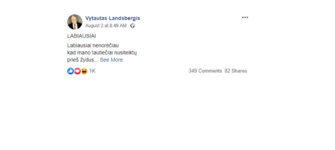 Eilėraštis iš Vytauto Landsbergio Facebooko