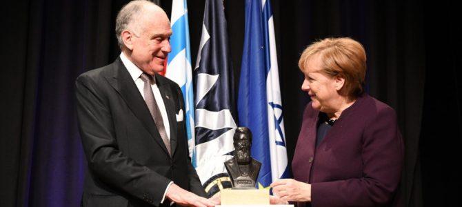 Miunchene žydų kongreso vykdomojo komiteto posėdyje apdovanojimas įteiktas Angelai Merkel
