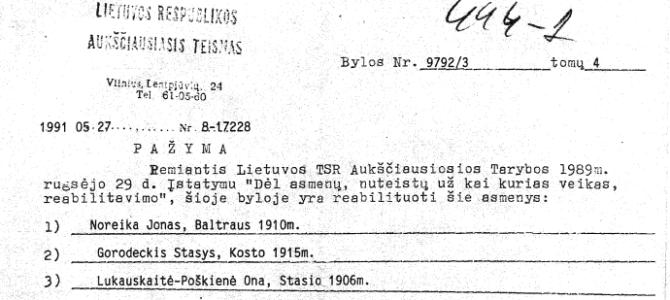 Dėl J. Noreikos reabilitavimo Lietuvos Aukščiausiojo Teismo sprendimu