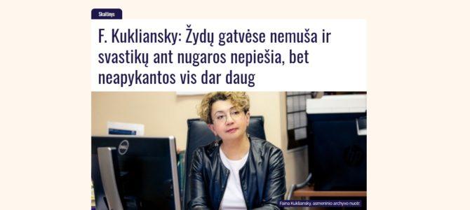 F. Kukliansky: Žydų gatvėse nemuša ir svastikų ant nugaros nepiešia, bet neapykantos vis dar daug