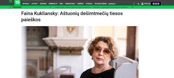 Faina Kukliansky: Aštuonių dešimtmečių tiesos paieškos
